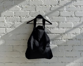 Linen Bag Large Reusable Shopping Tote Beach Bag 100% Linen  Eco friendly flax Black Strong Big bag