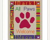 All Paws Welcome - Counted Cross Stitch PDF Pattern