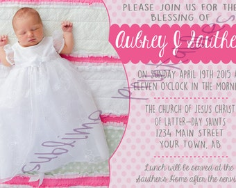 Baby Blessing Invitation 5x7 Printable File