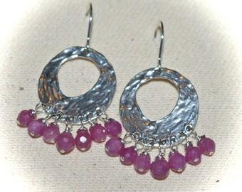 Natural Rubies Handcrafted 925SS Hoop Earring