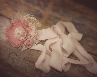 New! Newborn flower band Vintage Baby Pink and rose colored Bow Hand Rolled Rosettes Headband with Feathers, Lace, Pearls and Crystals