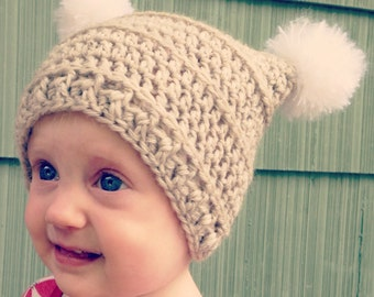 Crochet Hat Pattern, Kids Winter Hat with Pom Poms, Baby Beanie Hat Pattern #206