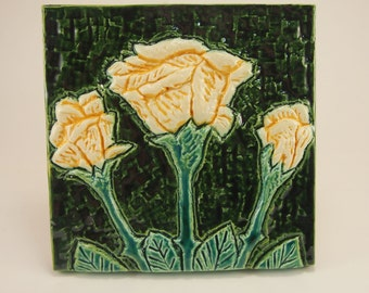 Yellow Rose, Low-Relief Ceramic Art Tile, June Birth Flower