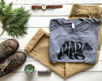 Papa Bear T-shirt • Unique Gift for Fathers • Hand-lettered Typographic Bear Design • Super Soft Gray Tee • Gift for Dads • FREE SHIPPING