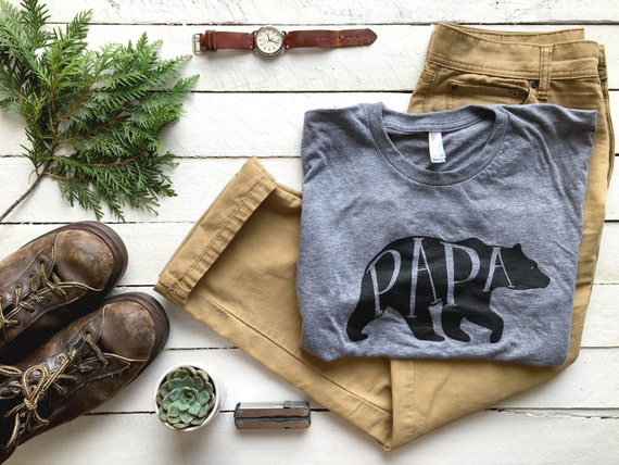 Papa bear t shirt unique gift for fathers hand lettered like this item negle Choice Image