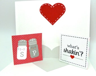 Salt and Pepper Shaker, Pop Up Valentines day card, Valentines day foodie love card, mason jar card, love pun