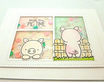 Pig Lover, Thinking of You, Any occasion card,   Shaker Card with sequins, Adorable pink pig card