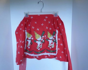 Vintage snowman Christmas half apron, red, holly,