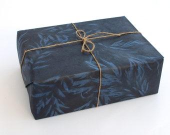 Lokta Wrapping Paper, Indigo Blue Barkarno Leaf Print, Hand made and Fair Trade