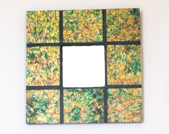 Gold Wall Mirror, Stained Glass Mosaic Mirror, Green and Gold, Van Gogh Glass, Unique Wall Decor, Decorative Accents, Room Accessories