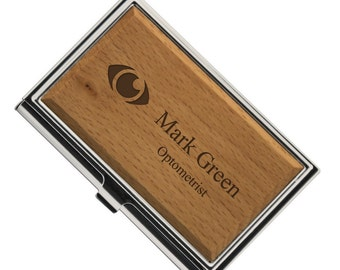 Engraved Optometrist Wooden Business Card Case