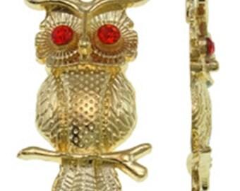 2pc 31x17mm gold finish rhinestone  owl pendant-8418A