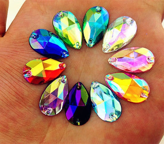 50pcs Mixed AB 18mm*11mm Flat Back Tear Drop Sew On Acrylic Rhinestones Embellishment Gems
