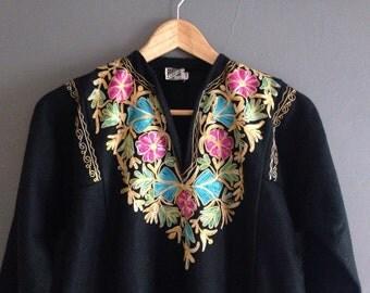 70s Kashmiri wool kaftan dress with Embroidered Trim