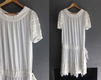 20s Style Sheer White Cotton Flapper Dress by Adini