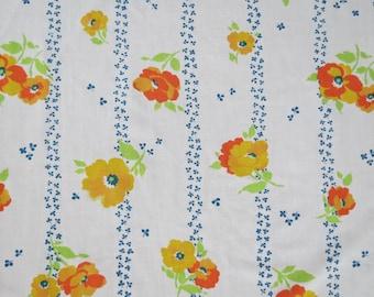 Vintage Sheet - Orange Yellow Poppies - Twin or Single Flat Sheet