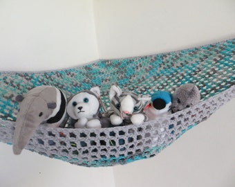 Medium image of crochet toy   hammock in aqua and gray with light gray trim stuffed animal storage