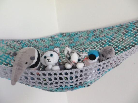 Crochet toy net hammock in aqua and gray with light gray trim