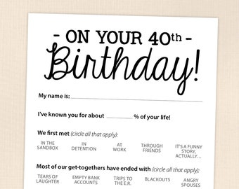 th birthday party game card funny milestone printable pdf 40th birthday party game card funny milestone printable pdf