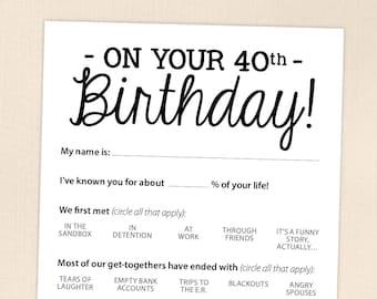 40th Birthday Party Game Card, Funny Milestone Printable PDF