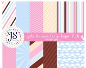 80% OFF - INSTANT DOWNLOAD, Vintage Precious Cargo backgrounds, girl baby shower digital paper, pink and blue, card making, invite design, s