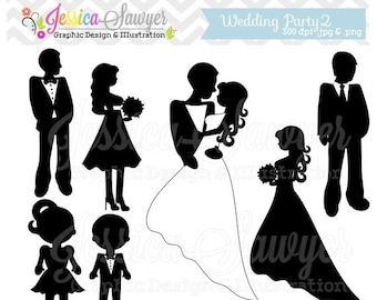 80% OFF - INSTANT DOWNLOAD, wedding silhouette clipart, silhouette clipart,  for greeting cards, announcements, scrapbooking