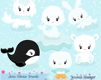 INSTANT DOWNLOAD, winter animal clipart and vectors for personal and commercial use