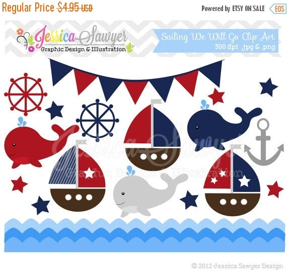 80% OFF - INSTANT DOWNLOAD,  sailing clip art, whale clipart, sail boat, nautical graphic, commercial use for invitations, announcements, de