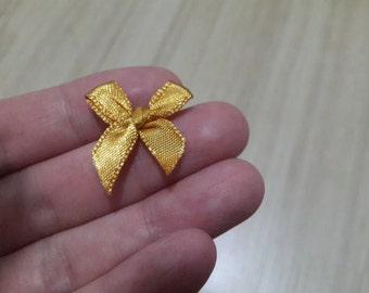 100 mini Satin bows - 7mm size - Dark Gold - Tiny fabric bow - Ribbon bows