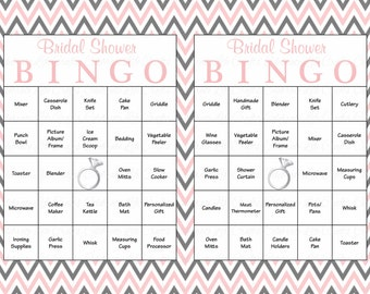 100 Bridal Bingo Cards - Blank & 100 Prefilled Cards - Printable Bridal Shower Game - Download Bridal Shower Games - Pink Gray Chevron BR001