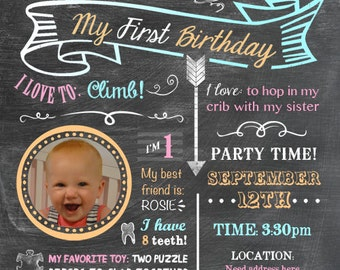 Printable Baby's Firsts Birthday Invitation BOY OR GIRL - Chalkboard Look 5 x 7 Print - Custom Colors - Choose with or without picture