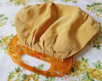 Vintage Fabric Purse Plastic Handle Mid Century Gold Orange