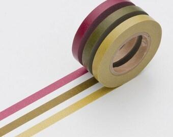 Set of 3 slim Masking Tape rolls burgundy / kaki / lime KMMT-MKTS3-E