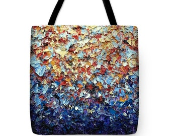 Multicolored Tote Bag, Colorful Handbag, Abstract Expressionism Art Tote Bag, Bohemian Chic Shopping Bag, Hippie Market Bag, Hobo Bag, Purse