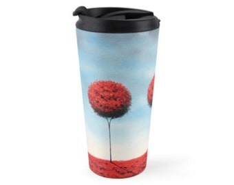 Red and Blue Stainless Steel Travel Tumbler, 15oz Retro Tree Coffee Mug Travel Cup, Contemporary Art Mug, Spill Proof Cup, Travel Coffee Cup