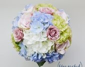 Hydrangea Bouquet - Garden Style Bouquet, Bridal Bouquet, Blue, Green, Purple, Lavender, Cream, Blue Bouquet, Silk Wedding Bouquet