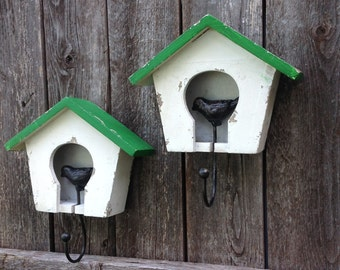 Birdhouse Wall Hooks - White Hanging Birdhouse - Cottage Chic Wall Decor