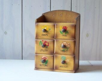 Vintage Wood Sewing Box. Sewing Organizer. Sewing Drawers.