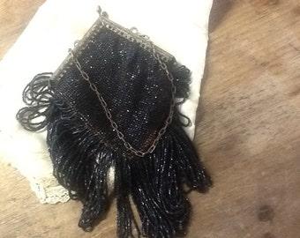 Vintage Victorian Black Beaded Handbag