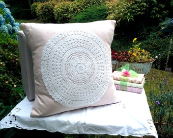Linen blend pillow cover in pink with a white vintage embroidered doily accent and vintage linen striped backing fabric, envelope closure