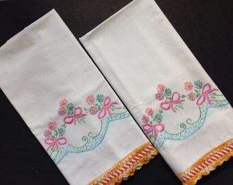 Vintage - Embroidered Crocheted Pillow Cases -Flowers - Pink Bows - Ric Rac Trim