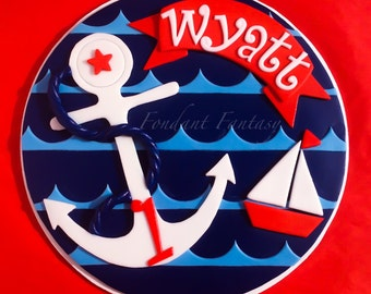 Personalized 8 inch Navy and Red Nautical Cake Topper