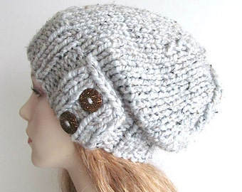 Gray Slouchy Beanie Slouch Wool Hats Oversized Baggy Beret Two Buttons womens fall winter accessory Grey Super Chunky Hand Made Knit