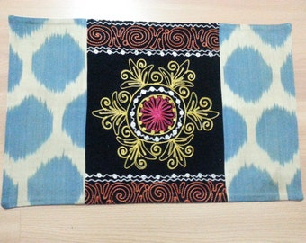 Buglem /  Embroidered Suzani Velvet and silk-cotton Pillow Cover - 14,20x22,60 inch