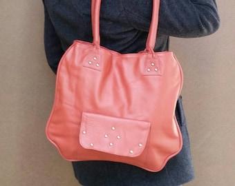 Coral pink leather tote purse rustic flat classic style bag medium school shoulder handbag handmade unique handbags and purses lora