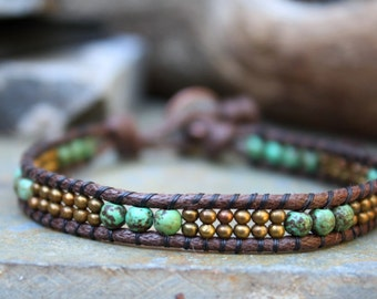 Single Vegan Wrap,  Beaded wrap, Vegan Beaded Wrap, Speckled Magnesite, Brass Wrap Bracelet, Vegan Jewelry, Single Wrap, Boho Bracelet