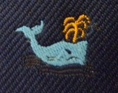 """ICONIC Vintage """"SAVE the WHALES"""" Navy Blue Chocolate Brown Trad / Ivy League Emblematic Club Neck Tie."""