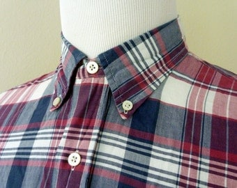Vintage POLO by Ralph Lauren 100% Cotton Indian Madras Red & Blue Plaid Trad / Ivy League Casual S/S Shirt Size Large 16.  Made in India.