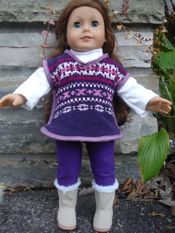3 piece outfit for 18 inch dolls by Project Funway on Etsy, Sweater poncho, leggings and long sleeve shirt