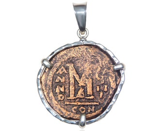 large coin pendant, ancient coin pendant, antique coin necklace, christian necklace, pendant for men, pendant for women